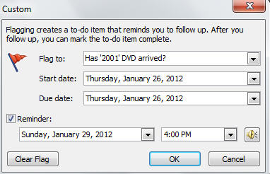 1645 Outlook has name item arrived custom flag with date set - Outlook reminders for ebay and other online purchases
