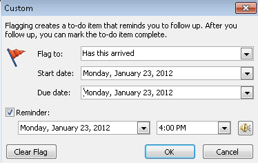 Outlook - has this arrived - custom flag with date set.jpg image from Outlook reminders for ebay and other online purchases at Office-Watch.com