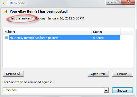 1645 Outlook reminder popup for delivery - Outlook reminders for ebay and other online purchases