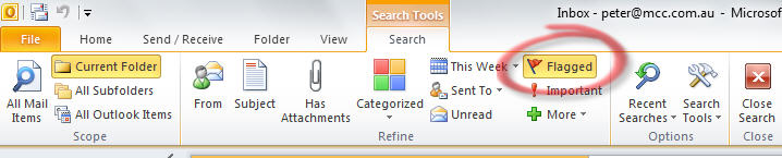 Outlook - search for flagged items.jpg image from Outlook reminders for ebay and other online purchases at Office-Watch.com