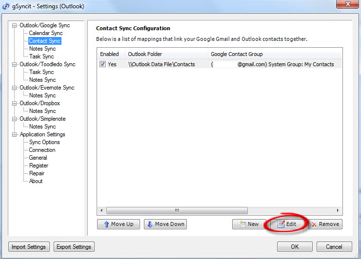 gSyncit - Settings.jpg image from Syncing Google services with Outlook at Office-Watch.com