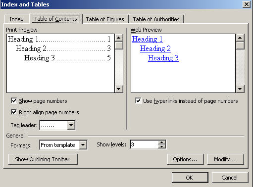 Table of Contents - default options in Word 2003 image from Table of Contents in Word at Office-Watch.com