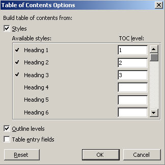 Table of Contents - options dialog - Word 2003 image from Table of Contents in Word at Office-Watch.com