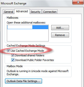 1650 Outlook cached Exchange mode setting - Outlook online is also offline