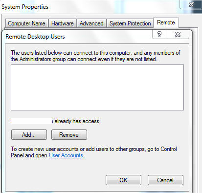Remote Desktop - select users.jpg image from Share a single Outlook with Remote Desktop at Office-Watch.com
