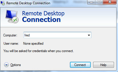 Remote Desktop - simple client connection.jpg image from Share a single Outlook with Remote Desktop at Office-Watch.com