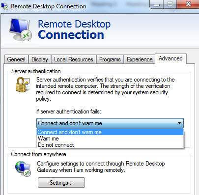 Remote Desktop - Advanced.jpg image from Remote Desktop configuration at Office-Watch.com