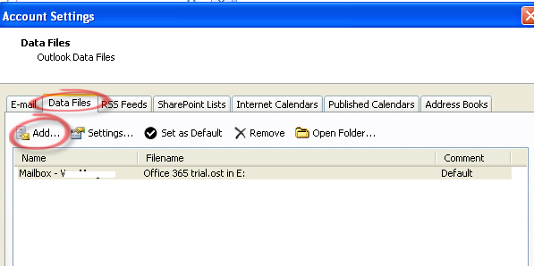 Outlook - add data PST to profile.jpg image from Moving existing Outlook data at Office-Watch.com