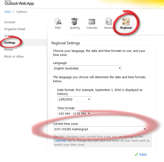 Office 365 - OWA change time zone display.jpg image from Outlook Web Apps – time zone change at Office-Watch.com