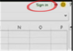 1665 Office 15 Excel close up to Sign in - Sign in option for Office 15