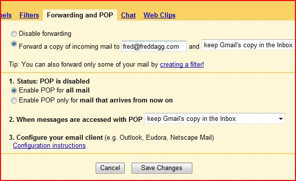Gmail POP and Forwarding options image from Backup your Gmail and other webmail at Office-Watch.com