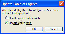 Update Table of Figures Dialog image from Table of Figures in Word at Office-Watch.com