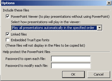 Powerpoint - Package to CD default options image from Powerpoint portability at Office-Watch.com