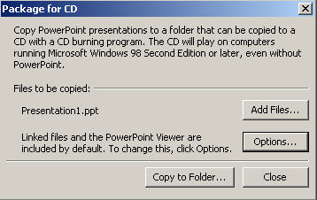 Powerpoint 2003 - Package to CD dialog image from Powerpoint portability at Office-Watch.com