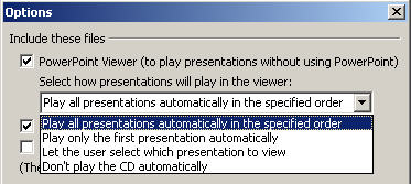 Powerpoint 2003 - Package to CD play options image from Powerpoint portability at Office-Watch.com