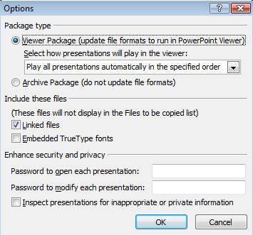 Powerpoint 2007 - Package to CD default options image from Powerpoint portability at Office-Watch.com