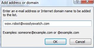 Outlook Safe Sender dialog image from Setting Outlook