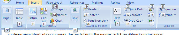 550 Word 2007 Shortcut reminders when pressing Alt N - Fluent Shortcuts in Office 2007