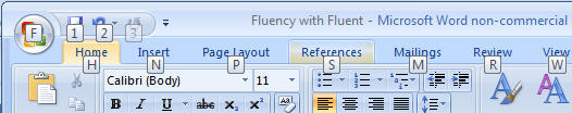 550 Word 2007 Shortcut reminders when pressing Alt - Fluent Shortcuts in Office 2007
