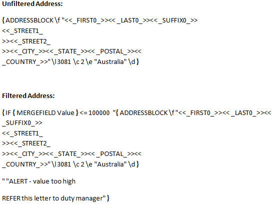 Word mail merge - Address block IF statement - field codes image from How to avoid trillion dollar mistakes in Word at Office-Watch.com