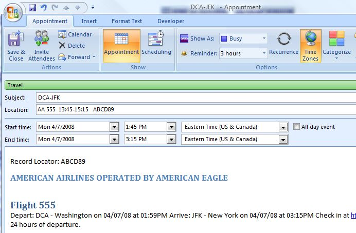Outlook appt as amended from the AA.com link image from Adding an appointment from a web site at Office-Watch.com
