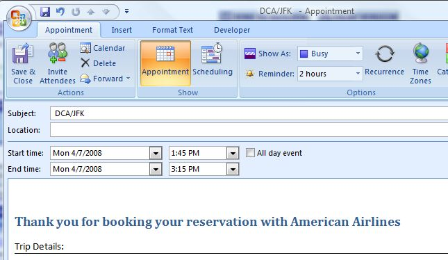 Outlook appt as created by AA.com link image from Adding an appointment from a web site at Office-Watch.com