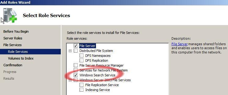 Windows Server 2008 Role Services - add Windows Search image from Office 2007 or Office 2003 on Windows