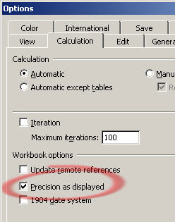 628 Excel 2003 Precision as Displayed option - Workarounds for Excel's addition problems