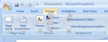 662 Powerpoint 2007 Design menu shortcut reminders - Office 2007 - new look - same shortcuts