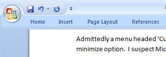 665 Word 2007 the minimized ribbon - Make the Office 2007 ribbon go away