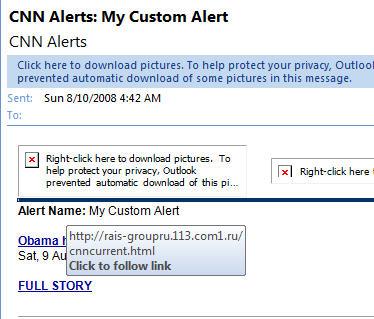 668 Outlook 2007   fake CNN custom alert message - More CNN based phishing missed by Outlook
