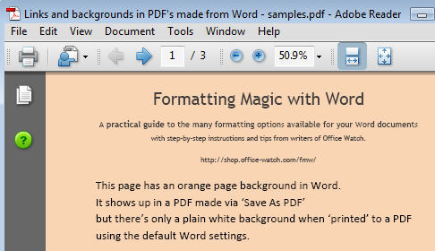 Word 2007 - Sample of page background using Save As option.jpg image from Making a PDF file - Save or Print? at Office-Watch.com