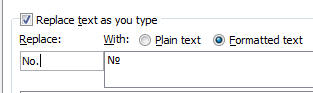 Word - Autocorrect Symbol Numero.jpg image from Typing Numero and other symbols at Office-Watch.com