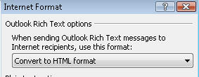 Outlook - Rich text option - convert to HTML.jpg image from Winmail.dat - the simple fix and Microsoft