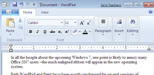 Windows 7 - Wordpad with ribbon image from The Office 2007