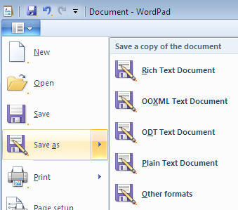 762 Wordpad 7 Save As format options - Got Windows 7? You can open / save Office 2007 and ODF documents