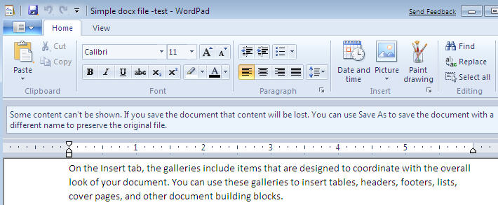 762 Wordpad 7 warning when opening a docx file - Got Windows 7? You can open / save Office 2007 and ODF documents