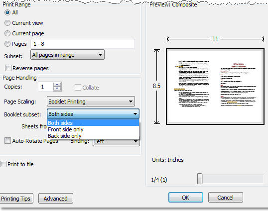 PDF - Booklet printing options.jpg image from Print a booklet from a Word document - free! at Office-Watch.com