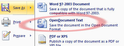 Office 2007 SP2 - OpenDocument save as.jpg image from Office Service Pack leaked at Office-Watch.com