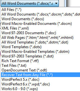828 Word   Open dialog   Recover Text from any file - How to open Word 6 and other 'old' documents