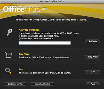833 Office 2008 for Mac   Trial version activation buy and try - Office 2008 for Mac - free trial