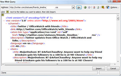 Excel 2007 - Web Query with Twitter RSS.jpg image from Using Excel (the real one) to read Twitter at Office-Watch.com