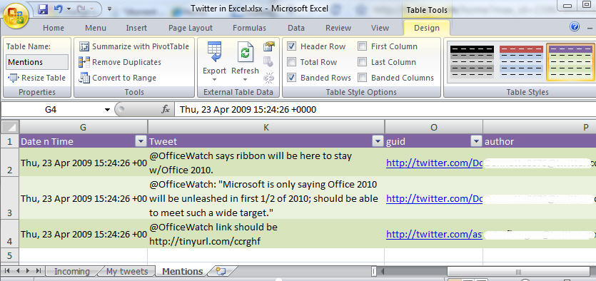 Excel 2007 - Formatted Search results.jpg image from Bring Twitter searches into Excel at Office-Watch.com