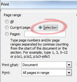 844 Office Print dialog selection - Printing a selection in Office