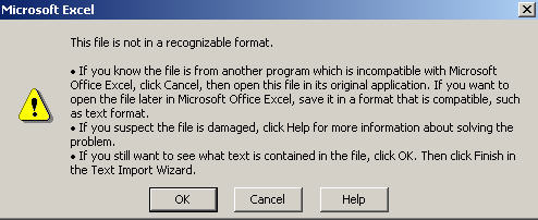 Excel 2007 - trying to open xls file in Excel 2003 with an incomplete Compatibility Pack install. image from Office 2007 compatibility pack works at Office-Watch.com