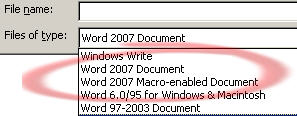 Office 2007 conversion pack File Open dialog image from Office 2007 compatibility pack works at Office-Watch.com