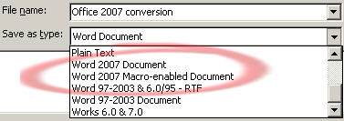 Office 2007 conversion pack File Save As dialog image from Office 2007 compatibility pack works at Office-Watch.com