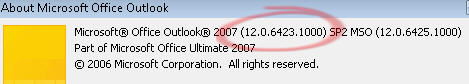 Outlook 2007 SP2 version details.jpg image from Office 2007 SP2 - what