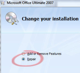Office 2007 repair installation.jpg image from Service Pack 2 bugs - real or imagined? at Office-Watch.com