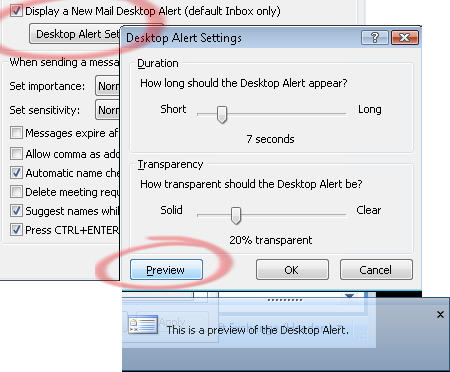Outlook 2007 - Preview desktop alert.jpg image from Service Pack 2 bugs - real or imagined? at Office-Watch.com